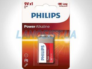Батарейка 6LR61 Power щелочная 9V (Крона) Philips 6LR61P1B/10