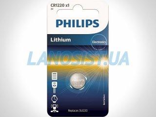 Батарейка CR1220 литиевая 3V Philips CR1220/00B