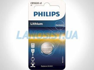 Батарейка CR1620 литиевая 3V Philips CR1620/00B