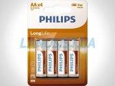 Батарейки AA R6 1.5V солевые Philips R6L4B/10