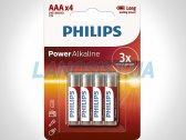 Батарейки AAA LR03 1.5V Power щелочные Philips LR03P4B/10