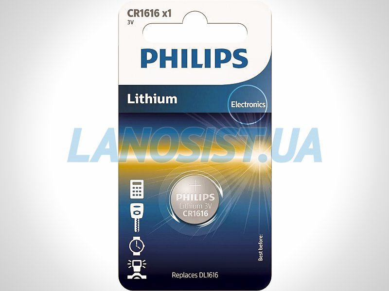 Батарейка CR1616 литиевая 3V Philips CR1616/00B